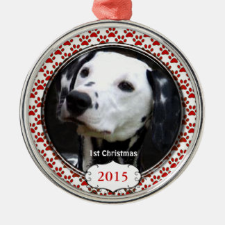 Silver Dog Paws My First Christmas Photo Ornaments