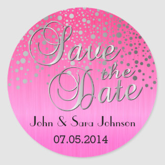 Silver Dots & Pink | Personalize Classic Round Sticker