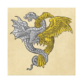 Silver Dragon and Golden Eagle Canvas Prints