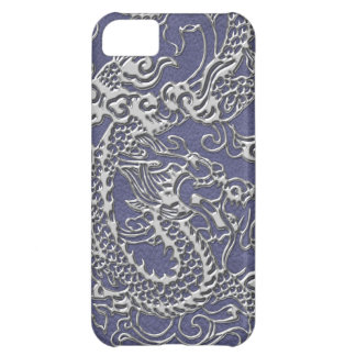 Silver Dragon on Blue Slate Leather Texture iPhone 5C Case