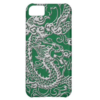 Silver Dragon on Pine Green Leather Texture iPhone 5C Case
