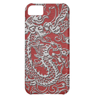 Silver Dragon on Red Leather Texture iPhone 5C Cover