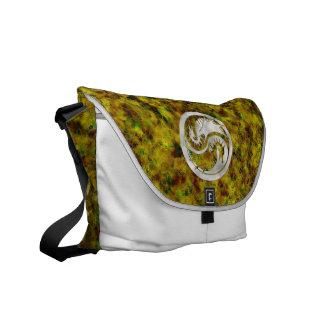 Silver Dragon Yin Yang on Gold Batik Messenger Bags