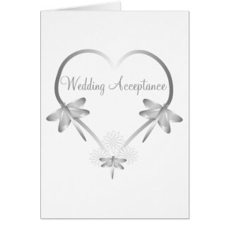 Silver Dragonfly Heart Wedding Acceptance Card