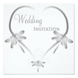 Silver Dragonfly Heart Wedding Card