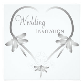 Silver Dragonfly Heart Wedding Announcement