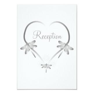 Silver Dragonfly Heart Wedding Reception Card