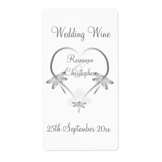 Silver Dragonfly Heart Wedding Wine Shipping Label