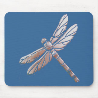 Silver Dragonfly on blue background Mouse Mat