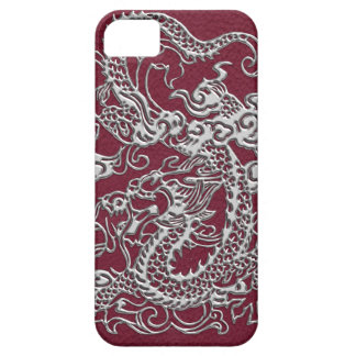 Silver Dragons Leather Texture Case For The iPhone 5