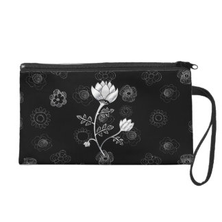 Silver Dust gray and black oriental style flowers Wristlets