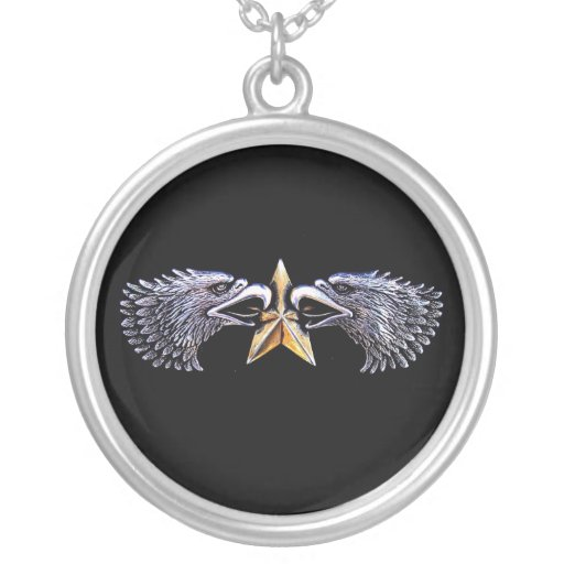 Silver Eagles with Gold Star Necklace
