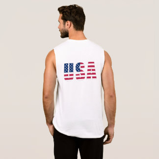 Silver-Edged USA Flag (front and back) Men's Sleeveless Shirt
