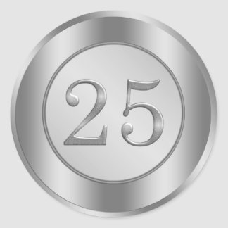 Silver effect 25th Wedding Anniversary Sticker