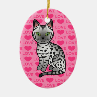 Silver Egyptian Mau Cat Illustration Ceramic Oval Decoration