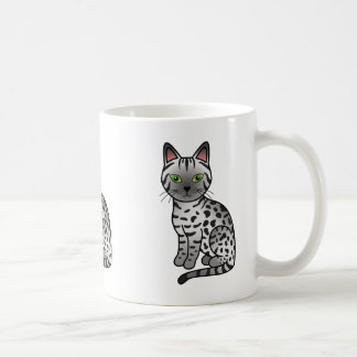 Silver Egyptian Mau Cat Illustration Coffee Mug