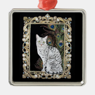 Silver Egyptian Mau Silver-Colored Square Decoration