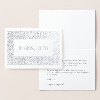 """Silver Elegance  All-Occasion """"Thank You"""" Foil Card"""