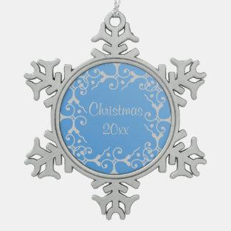 Silver Elegance Blue Christmas Snowflake Ornament