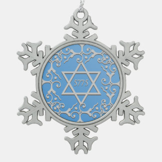 Silver Elegance Blue STAR OF DAVID Hanukkah Pewter Snowflake Decoration