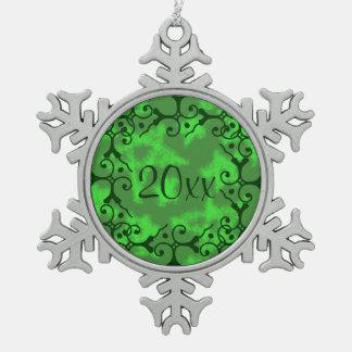 Silver Elegance Green Stars Snowflake Ornament