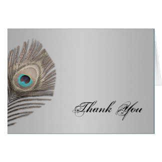 Silver Elegance Peacock Thank You Card