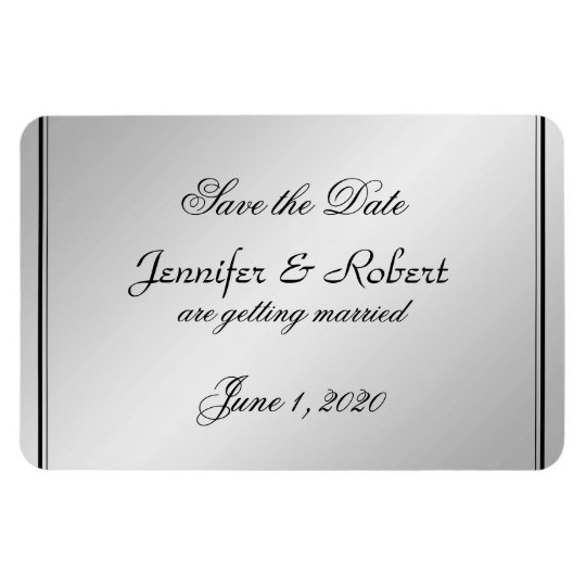 Silver Elegance Wedding Save the Date Magnet