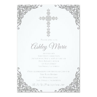 Silver Elegant Cross First Communion Invitation