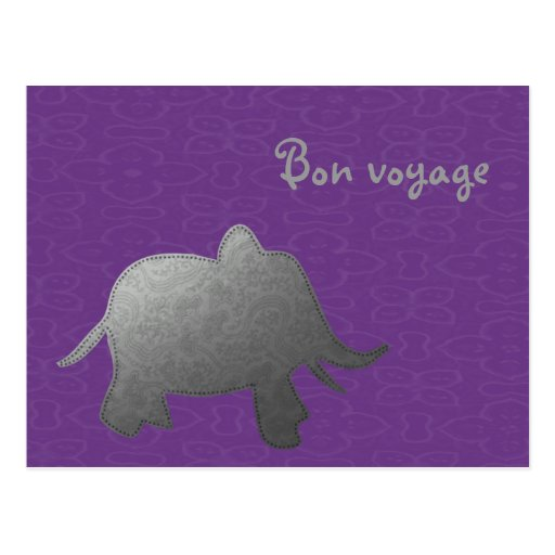 silver elephant - purple post cards