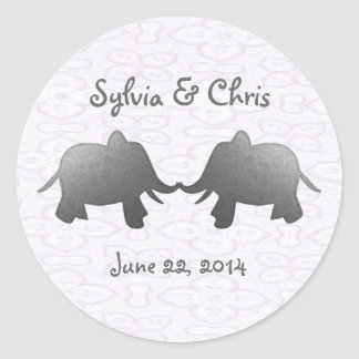 silver elephant - white classic round sticker