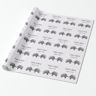silver elephant - white wrapping paper