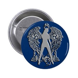 Silver Emboss Serpent Angel Button
