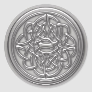 Silver Embossed Effect Cletic Knot Badge Round Round Sticker