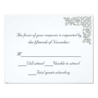 Silver embroidered Look Wedding Response Card 11 Cm X 14 Cm Invitation Card
