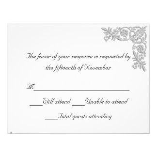 Silver embroidered Look Wedding Response Card Personalized Invitation