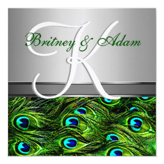 Silver & Emerald Green Peacock Wedding Invitations