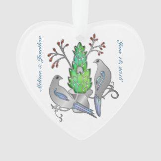Silver Enamel and Jewel Lovebirds Wedding Memories