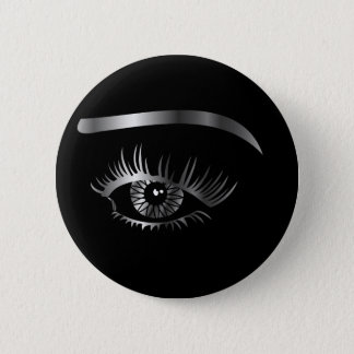 Silver eye with eyebrow and details inside 6 cm round badge