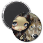 """Silver Eyed Wolf"" Magnet"