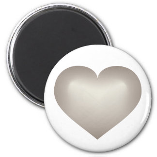 Silver fade heart 6 cm round magnet