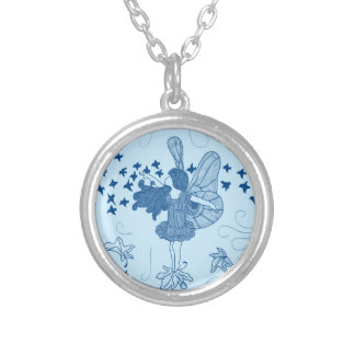Silver Fall Fairy Necklace (Blues)