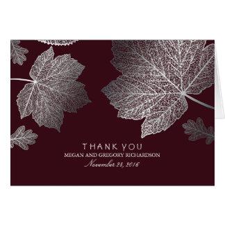 Silver Fall Leaves Burgundy Wedding Thank You Card