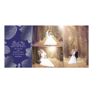 Silver Fall Leaves Wedding Photo Thank You Card