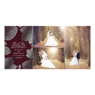 Silver Fall Leaves Wedding Photo Thank You Photo Greeting Card