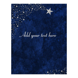 Silver Falling Stars Blue Print