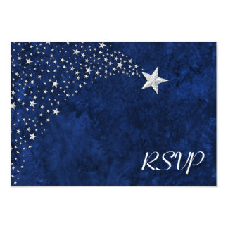 Silver Falling Stars RSVP Card