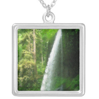Silver Falls Oil Painting Square Pendant Necklace