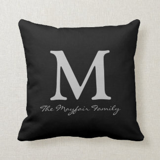 Silver Family Monogram and Name Cushion
