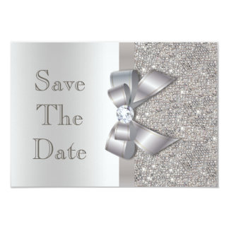 Silver Faux Bow & Diamonds Save The Date 3.5x5 Paper Invitation Card