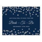 Silver Faux Glitter Confetti Navy Bridal Advice Postcard
